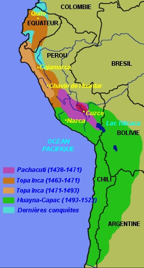 Carte de l'expansion de l'empire Inca à partir de sa fondation