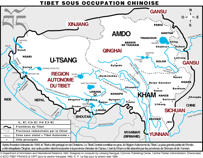 Carte du Tibet sous occupation chinoise