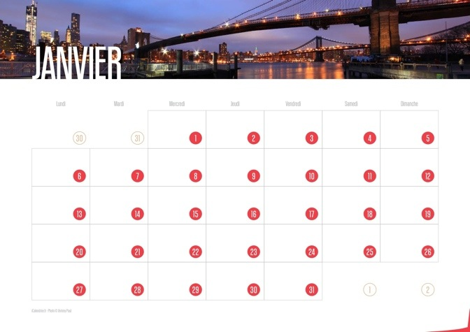 Calendrier 2014 New York City