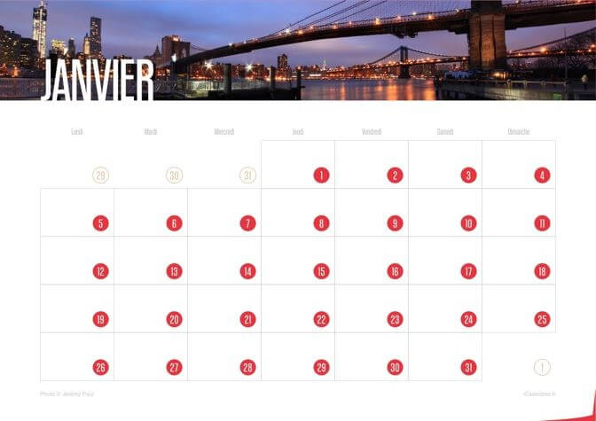 Calendrier 2015 New York City