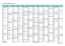 Calendrier 2016 - turquoise