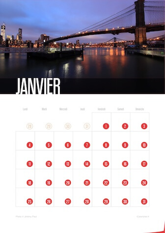 Calendrier portrait JPEG janvier 2016 New York City