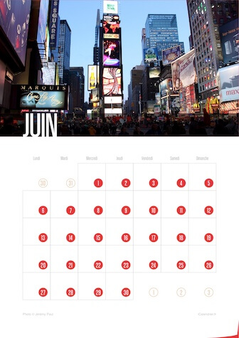 Calendrier portrait JPEG Juin 2016 New York City