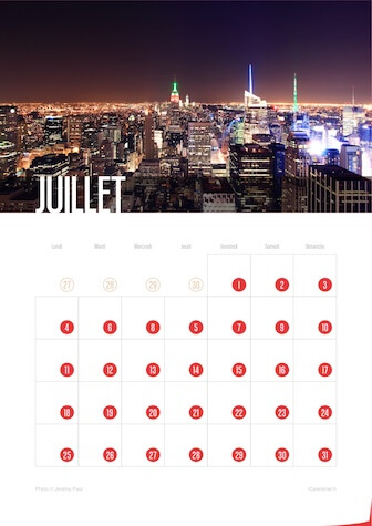 Calendrier portrait JPEG Juillet 2016 New York City