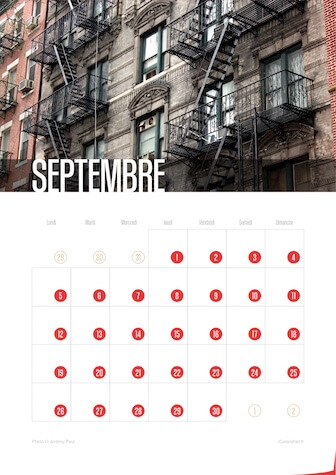 Calendrier portrait JPEG Septembre 2016 New York City