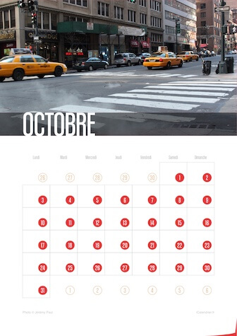 Calendrier portrait JPEG Octobre 2016 New York City
