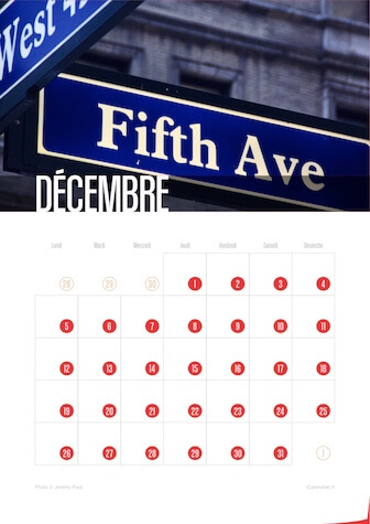 Calendrier portrait JPEG Décembre 2016 New York City