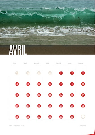 Calendrier JPEG Avril 2016 Waves