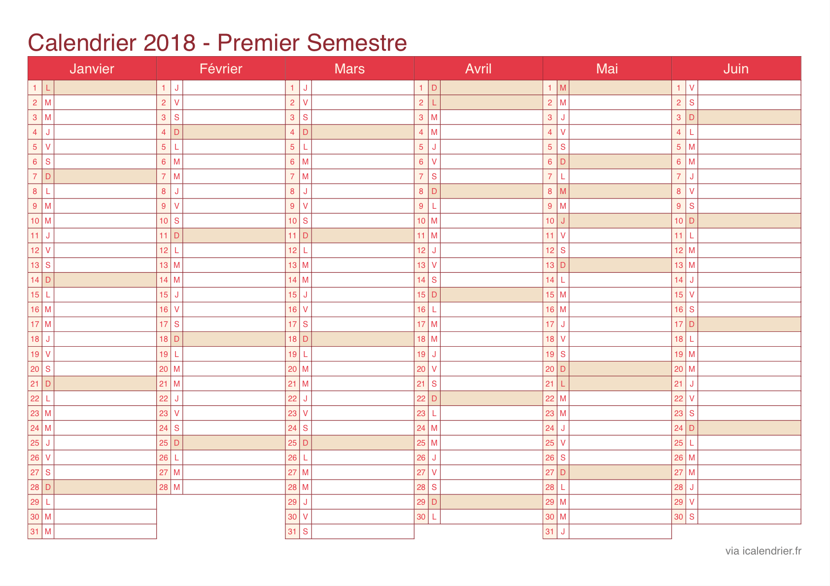 calendrier 2018 vierge