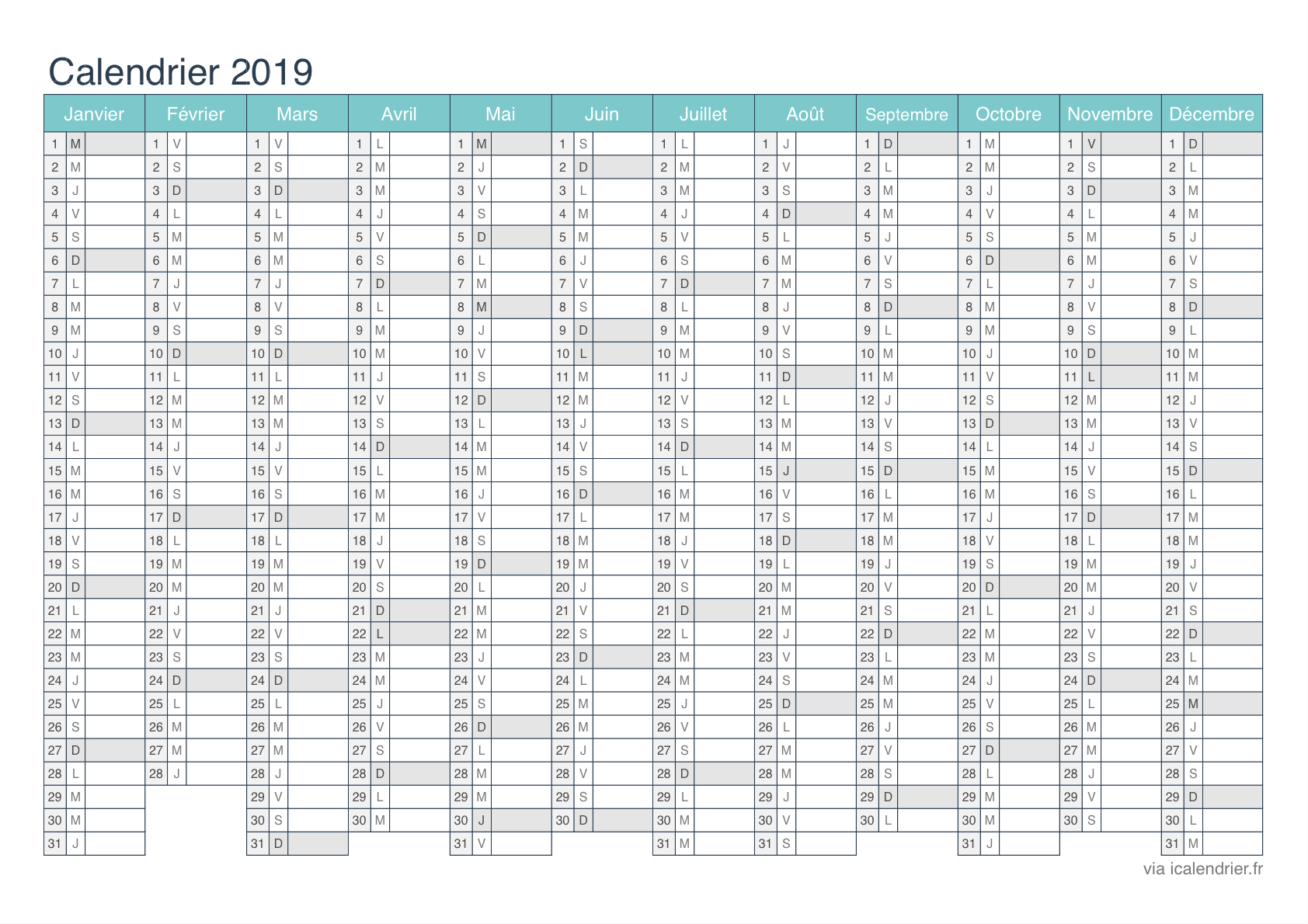 Calendrier 2020 Semaine Numerotees.Calendrier 2019 A Imprimer Pdf Et Excel Icalendrier