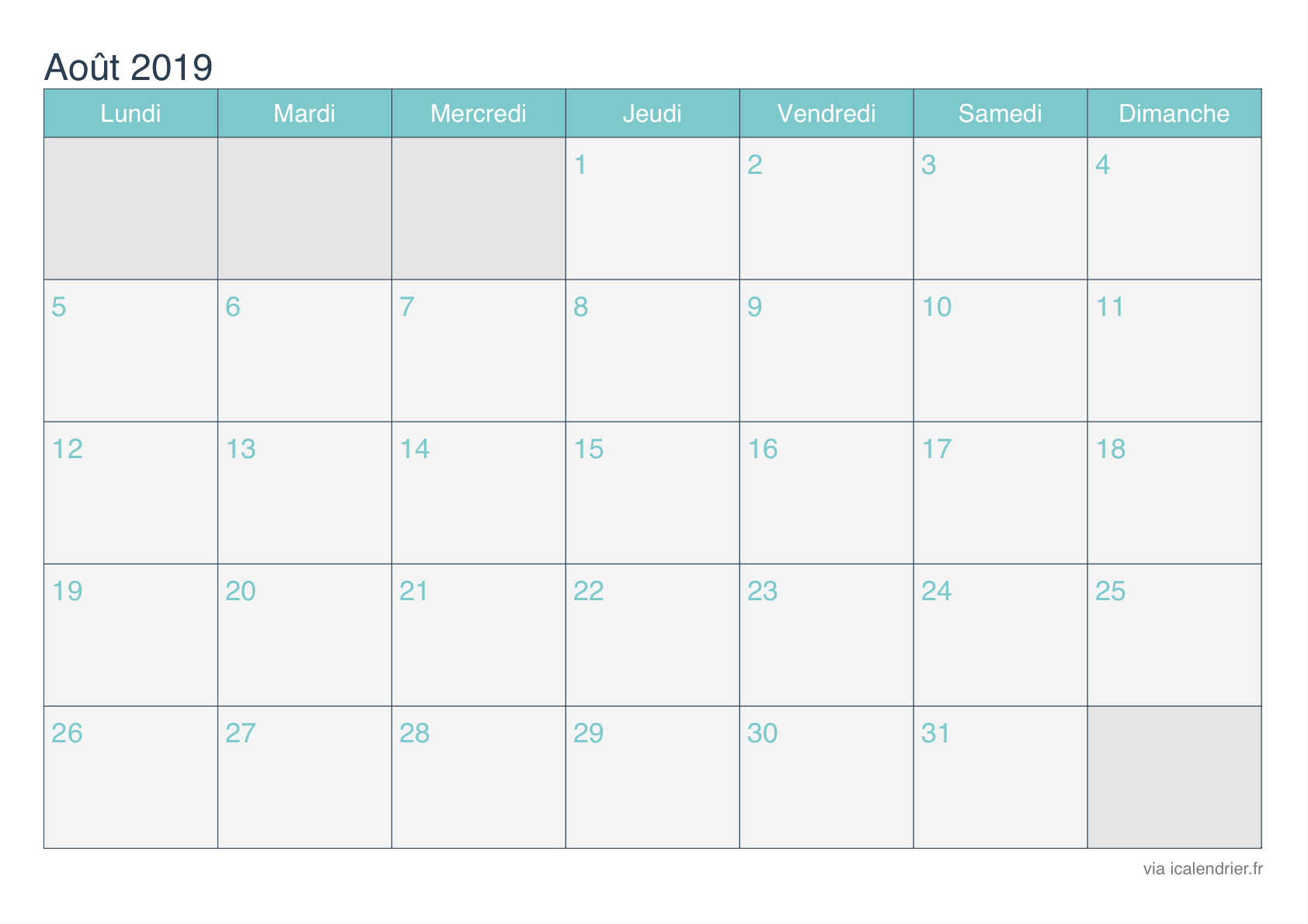 Calendrier Aout 2019 A Imprimer Icalendrier