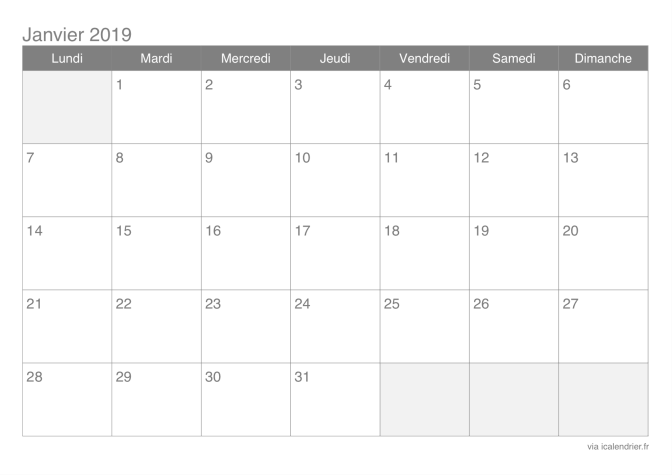 Calendrier Planning 2019.Calendrier 2019 Mensuel A Imprimer Icalendrier