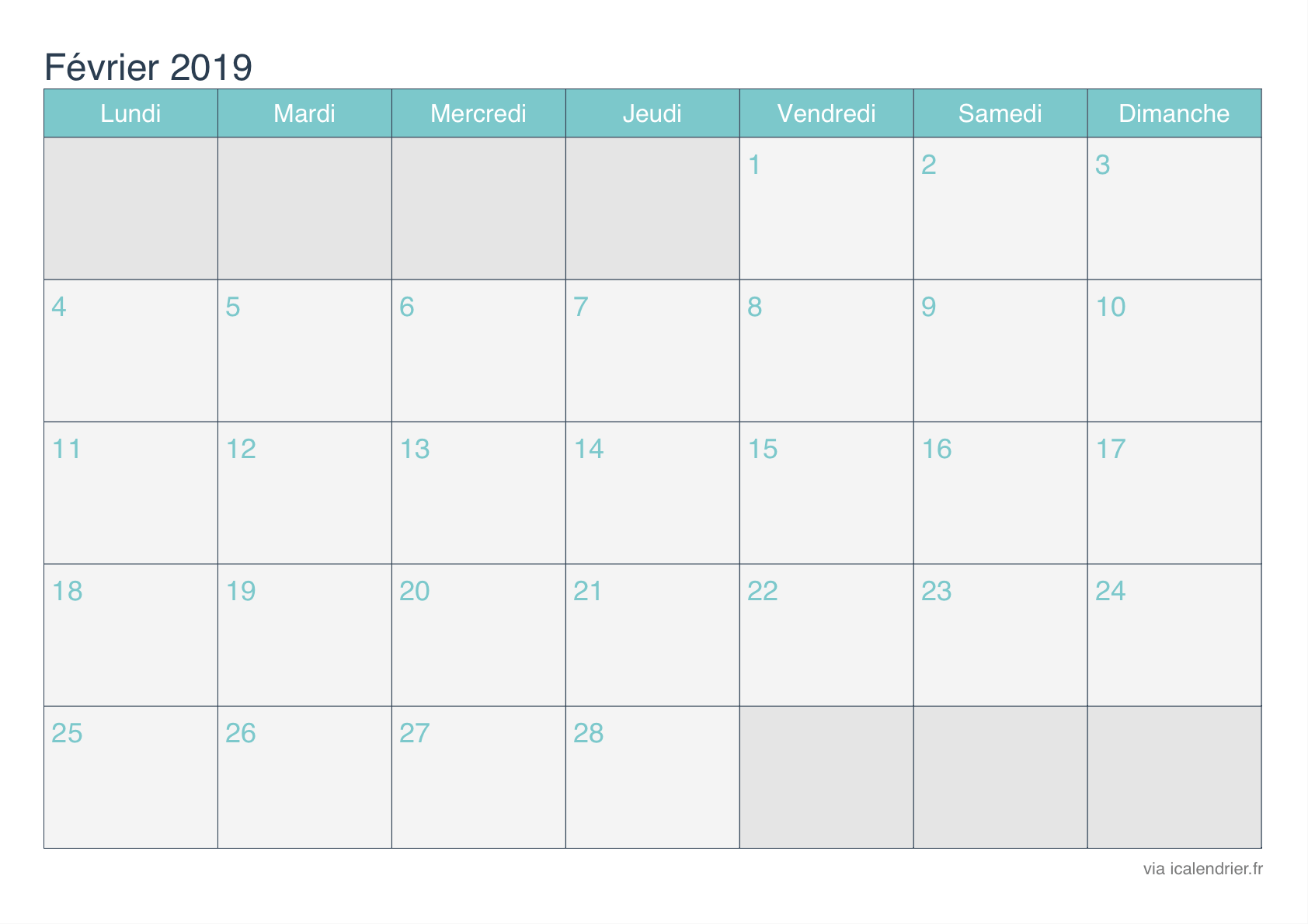 Fevrier Calendrier.Calendrier Fevrier 2019 A Imprimer Icalendrier