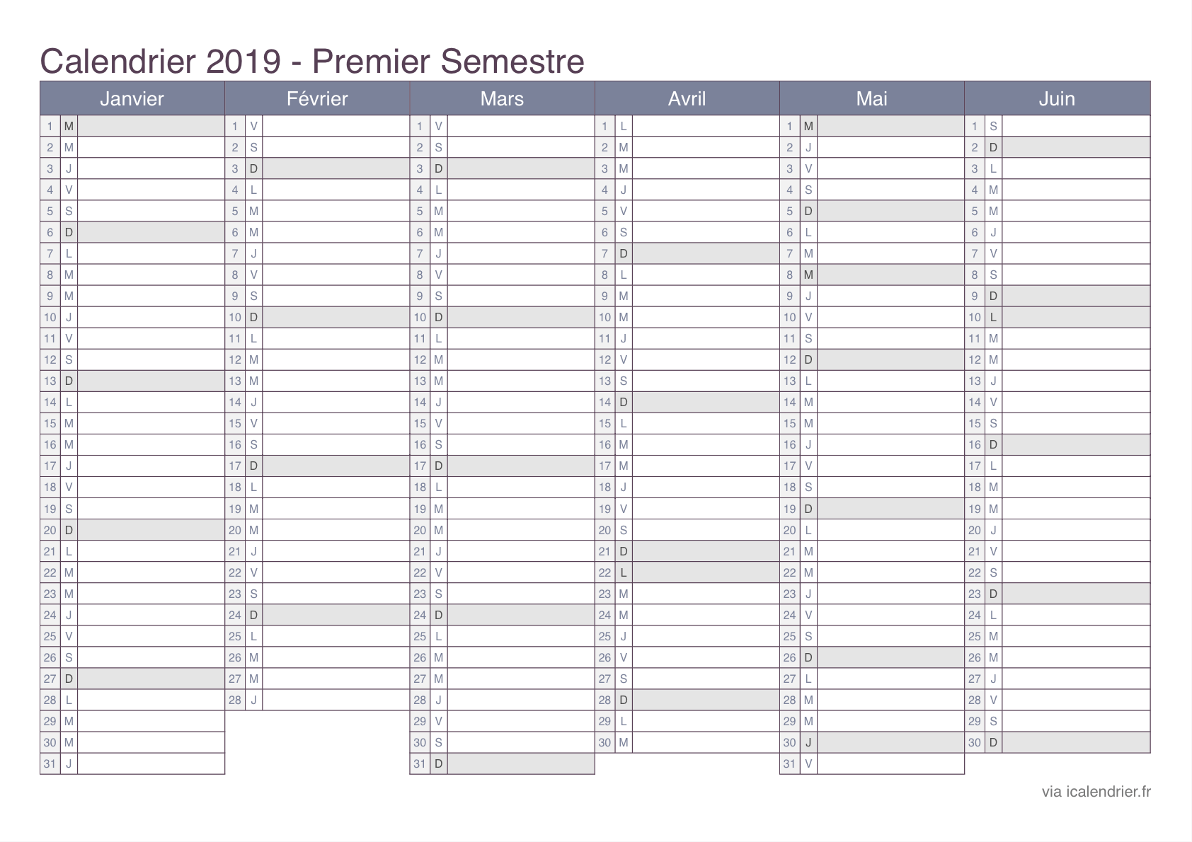 Calendrier Excell.Calendrier 2019 A Imprimer Pdf Et Excel Icalendrier