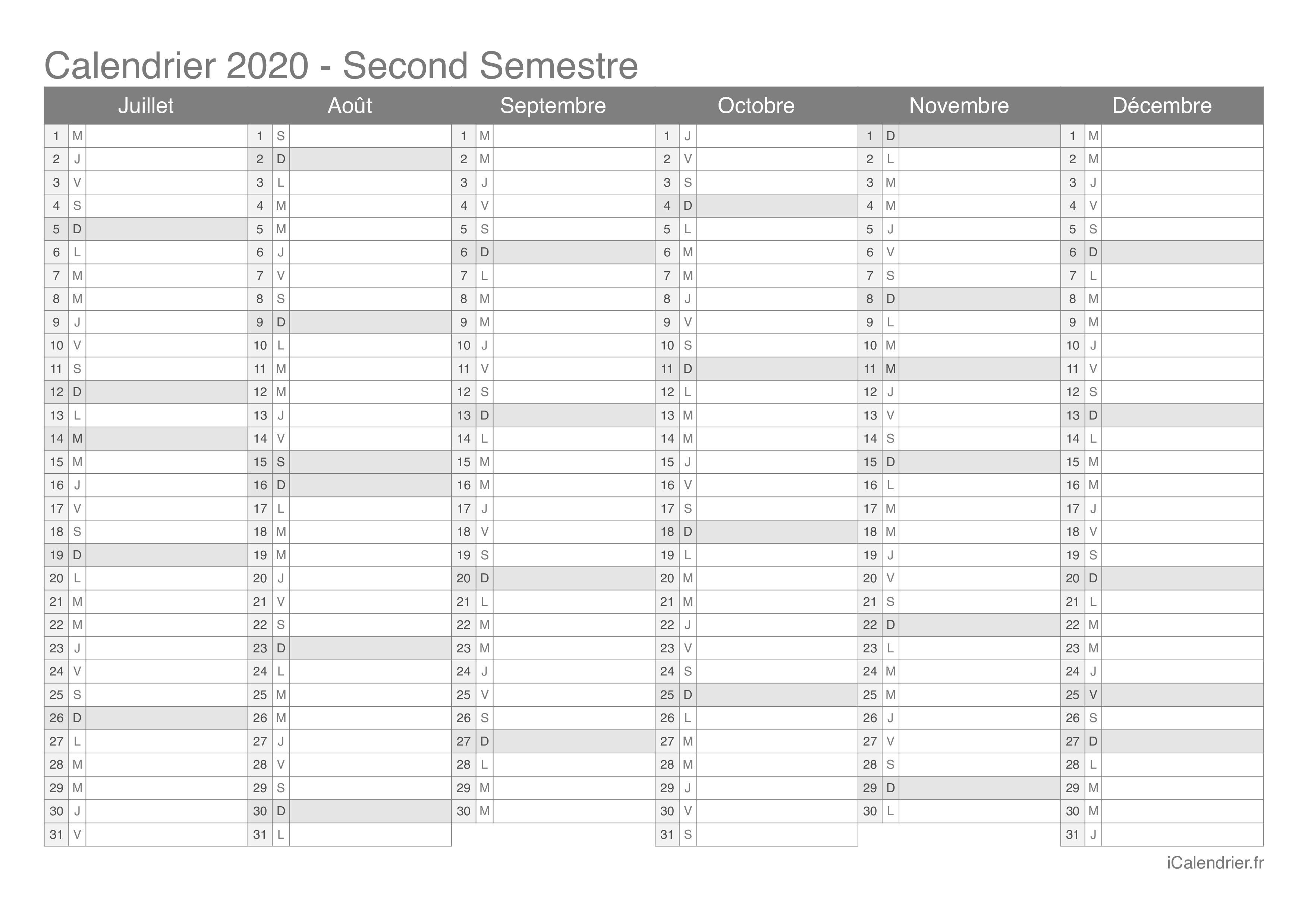 Semaines Calendrier 2020.Calendrier 2020 A Imprimer Pdf Et Excel Icalendrier