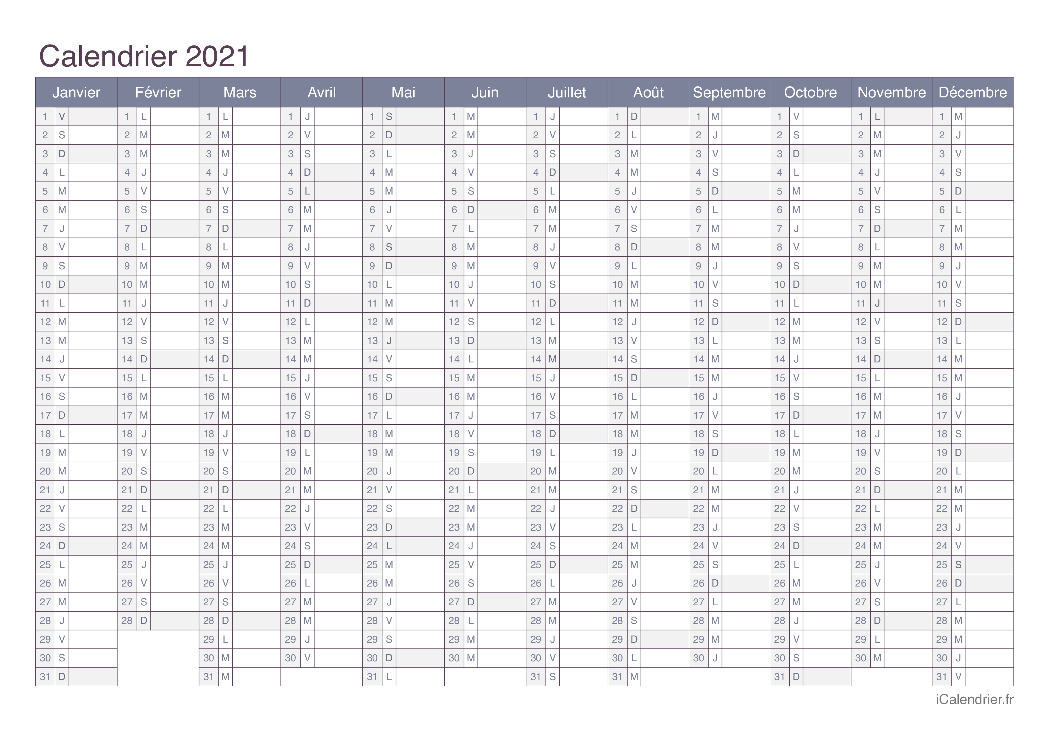 Imprimer Calendrier 2021 Calendrier 2021 à imprimer PDF et Excel   iCalendrier