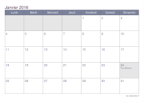 Calendrier 2016 par mois - office