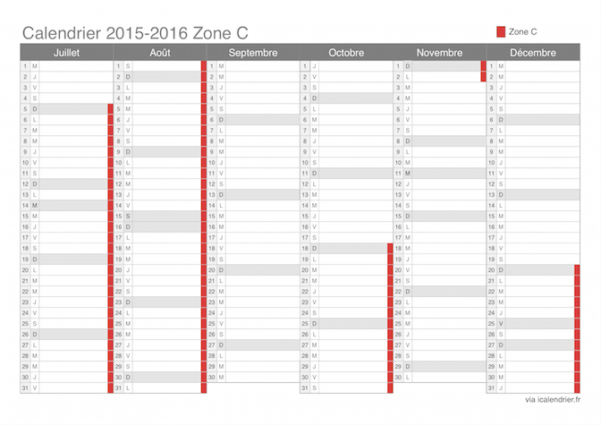 vacances scolaires 2015 2016 zone c calendrier et dates. Black Bedroom Furniture Sets. Home Design Ideas