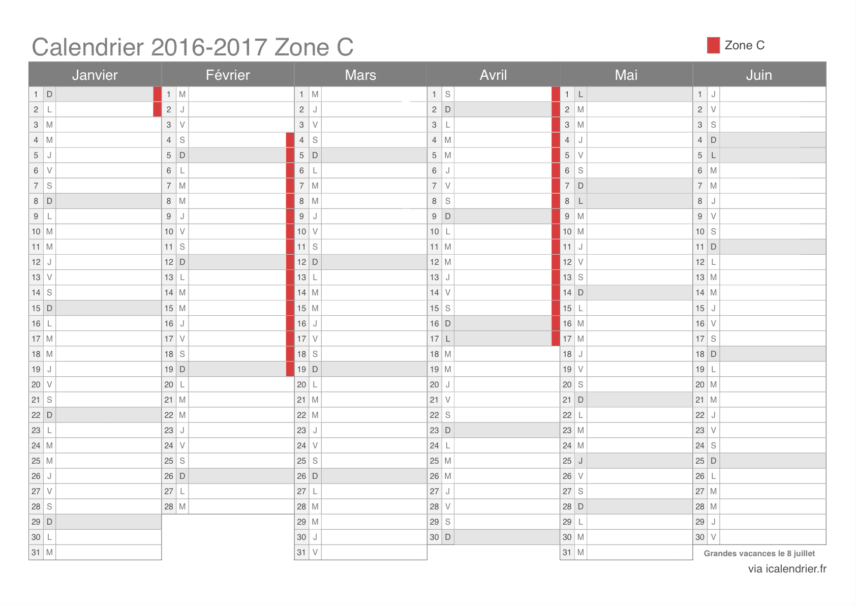 vacances scolaires 2016 2017 zone c calendrier et dates. Black Bedroom Furniture Sets. Home Design Ideas