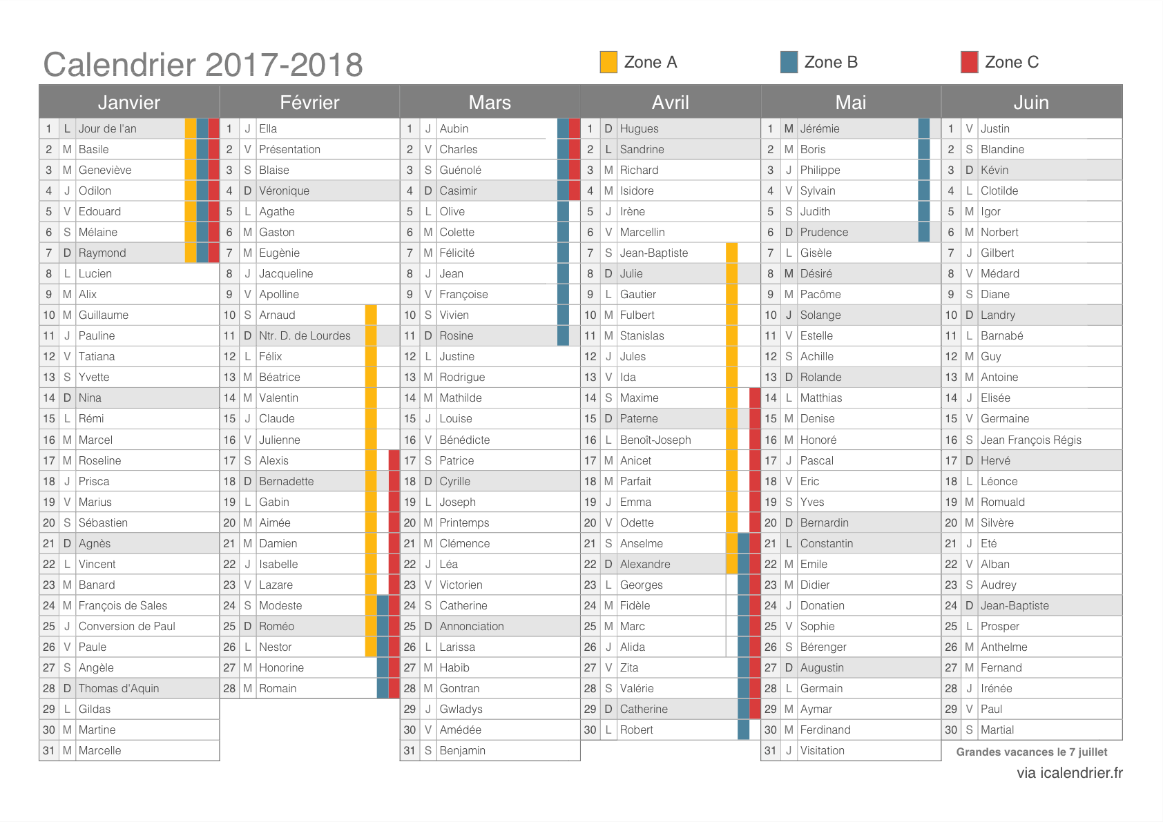 calendrier scolaire outlook 2018