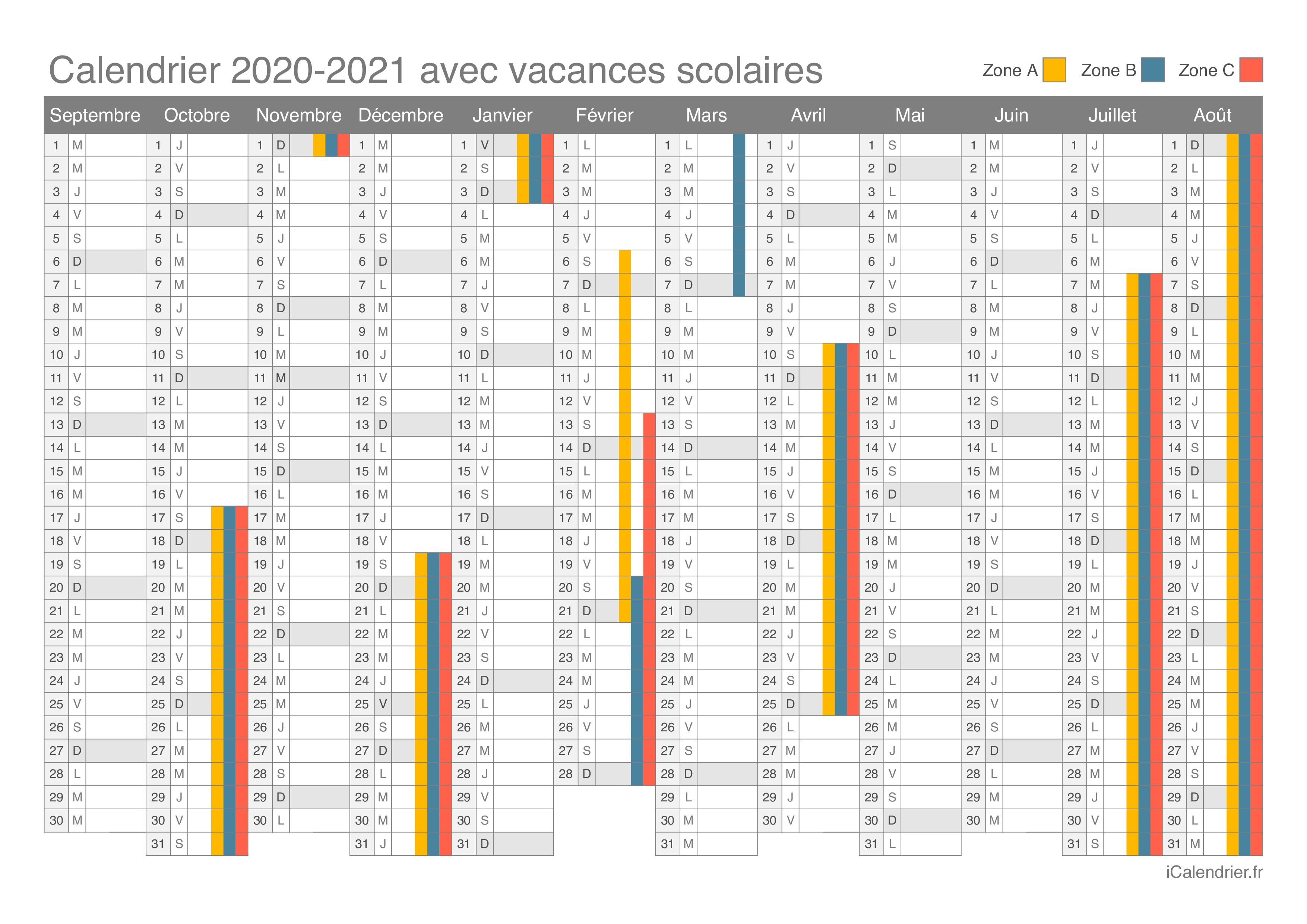 Calendrier Scolaire 2021 Zone A Vacances scolaires 2020 2021   Dates   iCalendrier